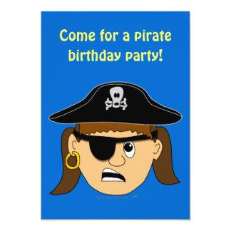 Arr Pirate Girl Cute Customizable Kid Pirate Stuff 5x7 Paper Invitation Card
