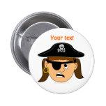 Arr Pirate Girl Cute Customizable Kid Pirate Stuff Pinback Button