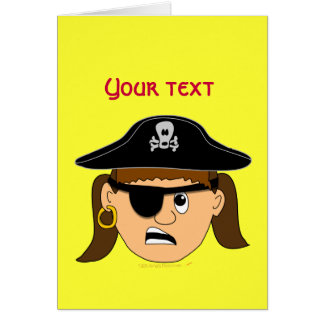 Arr Pirate Girl Cute Customizable Kid Pirate Stuff Card