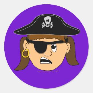 Arr Pirate Girl Cute Customizable Kid Pirate Stuff Classic Round Sticker