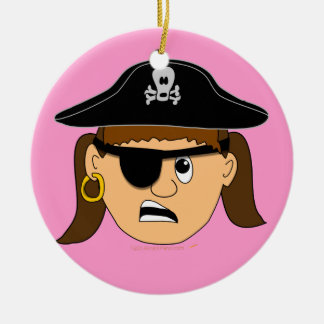 Arr Pirate Girl Cute Customizable Kid Pirate Stuff Double-Sided Ceramic Round Christmas Ornament