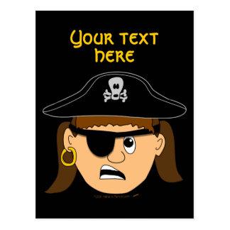Arr Pirate Girl Cute Customizable Kid Pirate Stuff Postcard