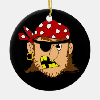 Arr Pirate Man Customizable Pirate Stuff Double-Sided Ceramic Round Christmas Ornament