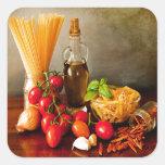 Arrabbiata italiano de las pastas pegatina cuadrada
