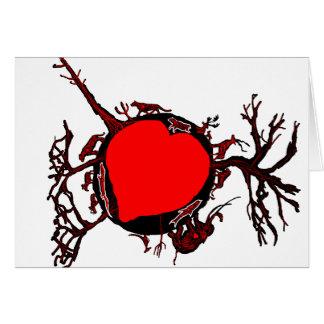 Arraigado en tarjeta del amor