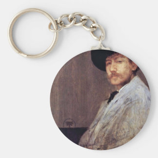 Arrangement In Gray Portrait Of The Artist (Selfpo Basic Round Button Keychain