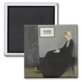 Arrangement in Grey and Black No.1 2 Inch Square Magnet