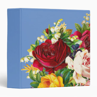 Arrangement of Red Pink and Yellow Roses 3 Ring Binder