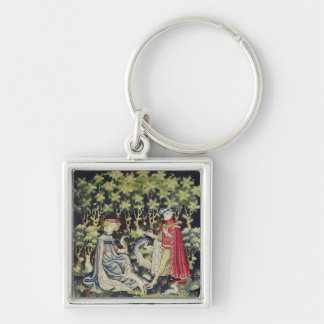 Arras Tapestry, Offering of the Heart Silver-Colored Square Keychain