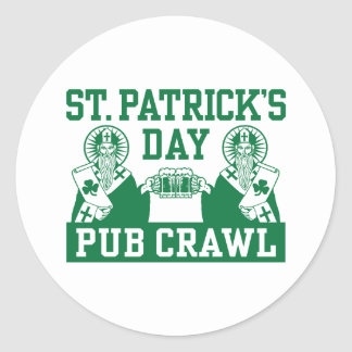 Arrastre de Pub del día de St Patrick Pegatinas Redondas