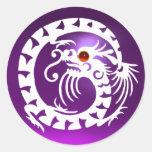 ARRASTRE EL DRAGÓN, blanco, amatista púrpura, rubí Pegatinas