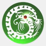 ARRASTRE EL DRAGÓN blanco, verde esmeralda, rubí r Pegatinas