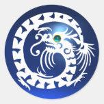 ARRASTRE EL DRAGÓN, zafiro blanco, azul de aquamar Etiquetas Redondas