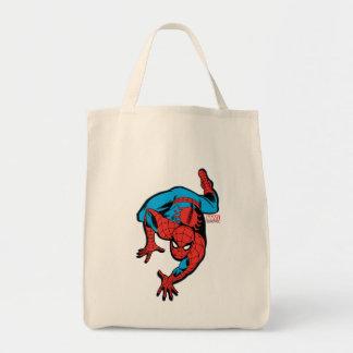 Arrastre retro de la pared de Spider-Man Bolsa Tela Para La Compra