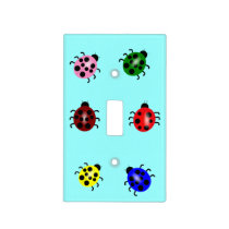 Array of colorful ladybugs light switch cover