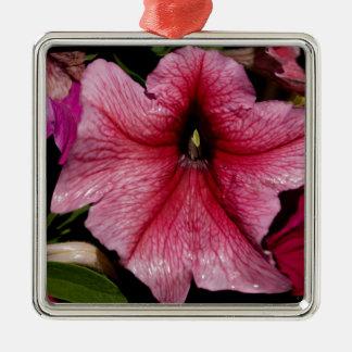 Arrebato floral adorno cuadrado plateado