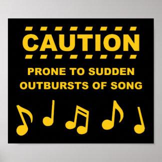 Arrebatos súbitos propensos de la precaución de la póster