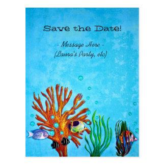 ¡Arrecife de coral - ahorre la fecha! Postales