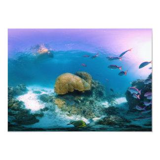 """Arrecife de coral cerca de la isla de la garza invitación 5"""" x 7"""""""