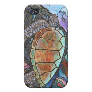 Arrecife de coral de la fantasía de la tortuga de  iPhone 4 coberturas