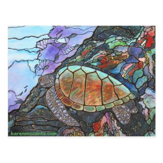 Arrecife de coral de la fantasía de la tortuga de postal