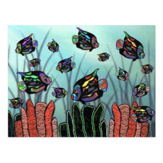 Arrecife de coral de neón del Angelfish Tarjetas Postales