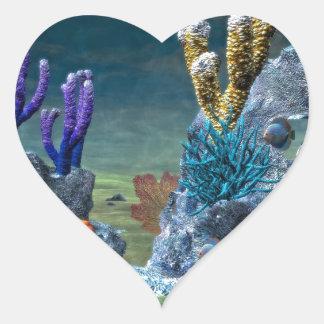 Arrecife de coral impresionante pegatina de corazon personalizadas