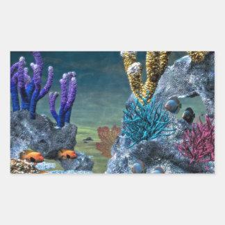 Arrecife de coral impresionante pegatina rectangular