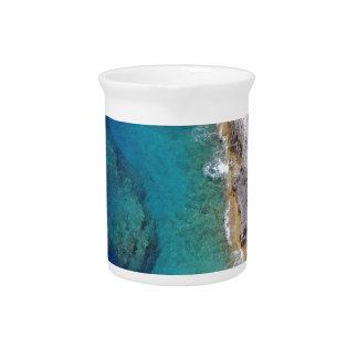 Arrecife de coral rugoso tropical jarras de beber