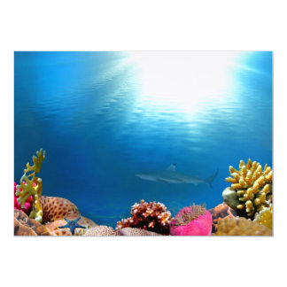 """Arrecife de coral y tiburón invitación 5"""" x 7"""""""