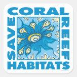 Arrecifes de coral calcomanias cuadradas