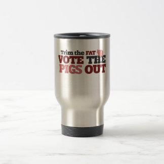 Arregle el voto gordo los cerdos hacia fuera tazas de café