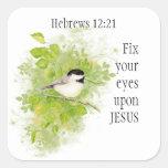 Arreglo del 12:21 de los hebreos de la escritura pegatina cuadrada