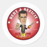Arreglo del mitón él - deuda y déficit etiquetas redondas