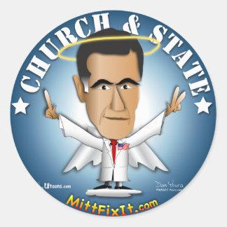 Arreglo del mitón él - iglesia y estado etiquetas redondas