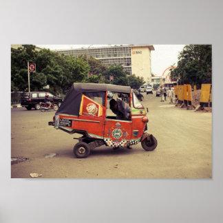 arreglo del vehículo del carrito de Jakarta Indone Póster