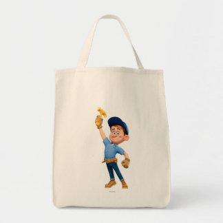 Arreglo-él JR que sostiene el martillo en el aire Bolsa Tela Para La Compra