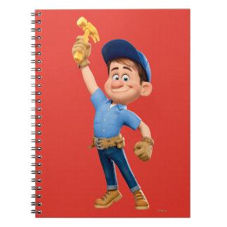 Arreglo-él JR que sostiene el martillo en el aire Cuaderno