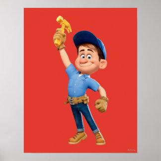 Arreglo-él JR que sostiene el martillo en el aire Póster