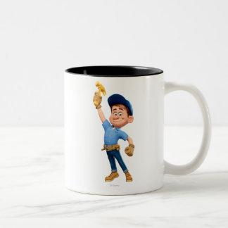 Arreglo-él JR que sostiene el martillo en el aire Taza De Café De Dos Colores