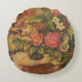Arreglo floral de la mujer del vintage cojín redondo