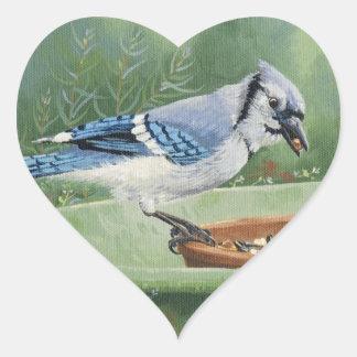 Arrendajo azul 0481 en el alimentador pegatina en forma de corazón