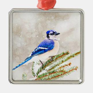 Arrendajo azul en un árbol de pino con nieve adorno navideño cuadrado de metal