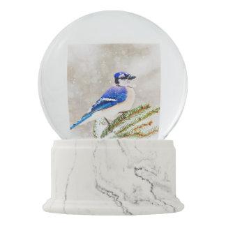 Arrendajo azul en un árbol de pino con nieve bola de nieve