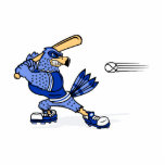 Arrendajo azul que juega a béisbol esculturas fotograficas