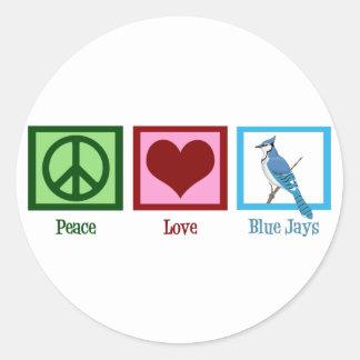 Arrendajos azules del amor de la paz pegatina redonda