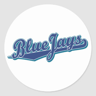 Arrendajos azules en azul y azul pegatina redonda