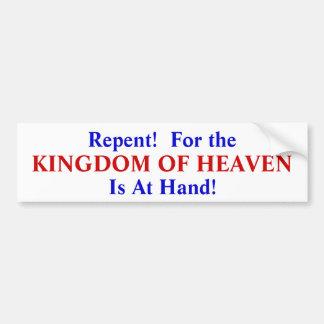 ¡Arrepentido! Para el reino del cielo es a mano Pegatina Para Auto