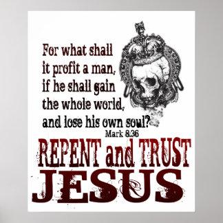 Arrepiéntase y confíe en a Jesús Póster