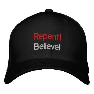 ¡Arrepiéntase y crea! Gorras De Beisbol Bordadas
